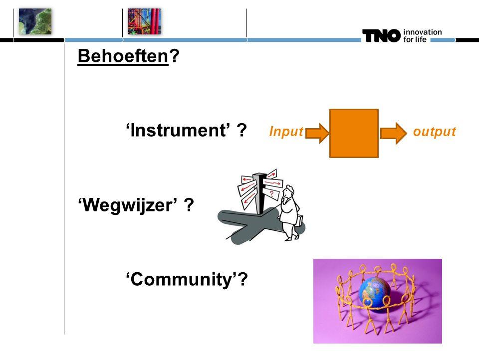 Behoeften 'Instrument' Inputoutput 'Wegwijzer' 'Community'