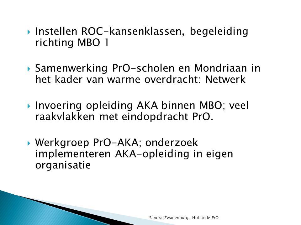 Convenant Mondriaan en Haagse Praktijkscholen: ◦ Pro verzorgt de opleiding, (afgestemd op de AKA- eisen) ◦ Mondriaan verzorgt de examinering Sandra Zwanenburg, Hofstede PrO