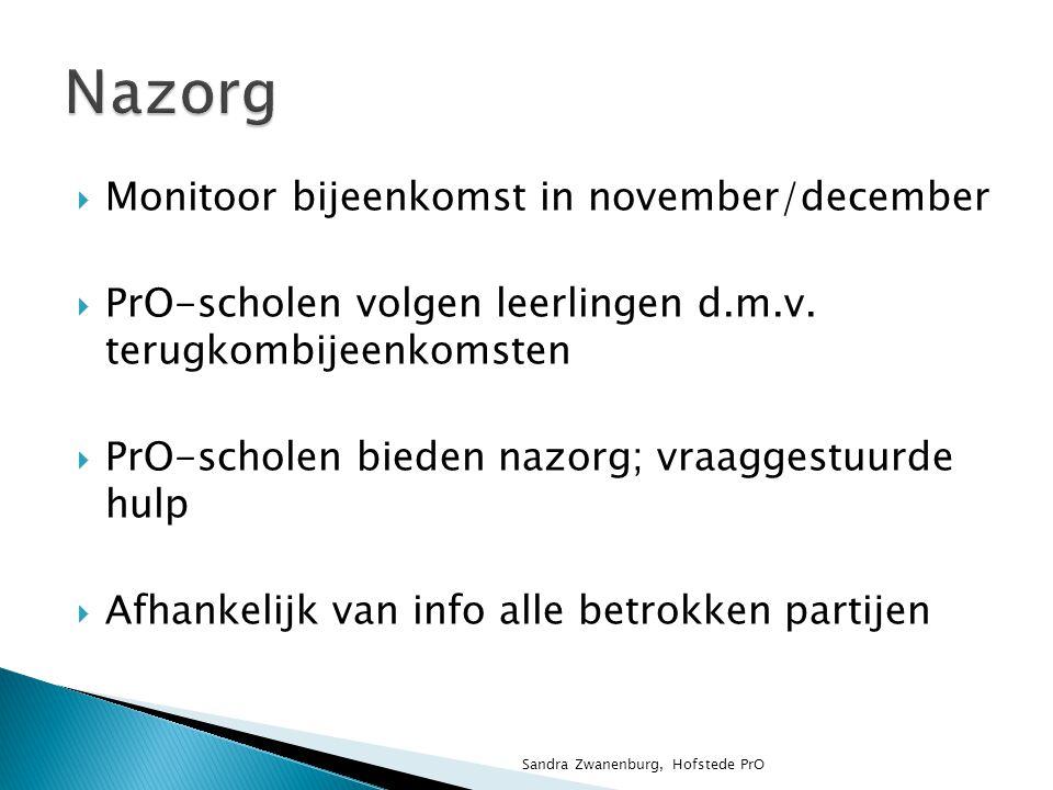  Communicatie  Terugkoppeling  Afstemming Sandra Zwanenburg, Hofstede PrO