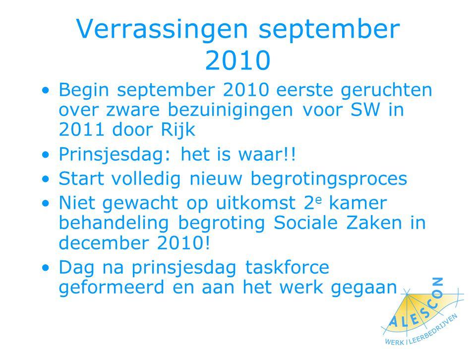 Verrassingen september 2010 Begin september 2010 eerste geruchten over zware bezuinigingen voor SW in 2011 door Rijk Prinsjesdag: het is waar!.