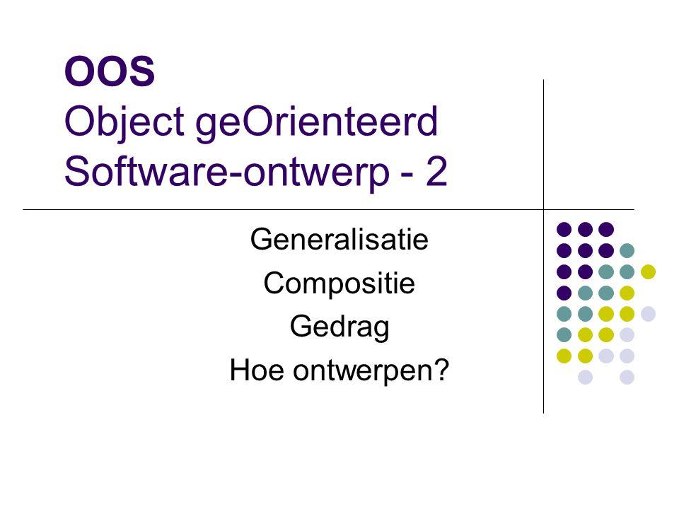 OOS Object geOrienteerd Software-ontwerp - 2 Generalisatie Compositie Gedrag Hoe ontwerpen?