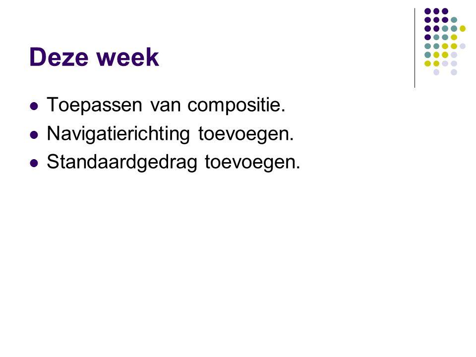 Deze week Toepassen van compositie. Navigatierichting toevoegen. Standaardgedrag toevoegen.