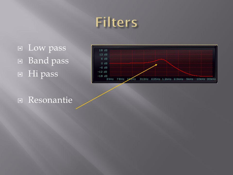  Low pass  Band pass  Hi pass  Resonantie