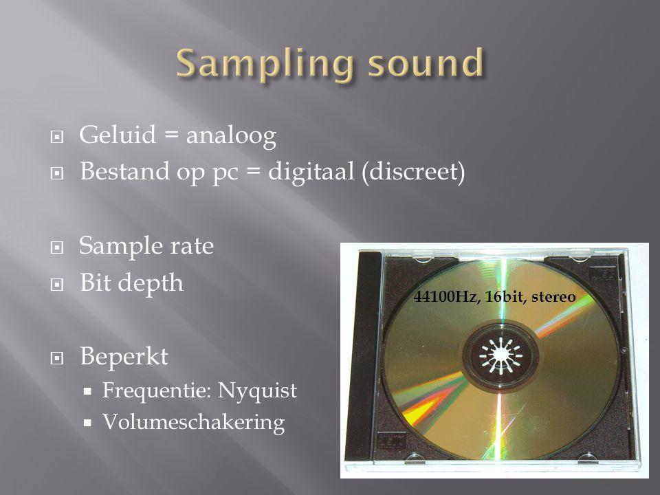  Geluid = analoog  Bestand op pc = digitaal (discreet)  Sample rate  Bit depth  Beperkt  Frequentie: Nyquist  Volumeschakering 44100Hz, 16bit,