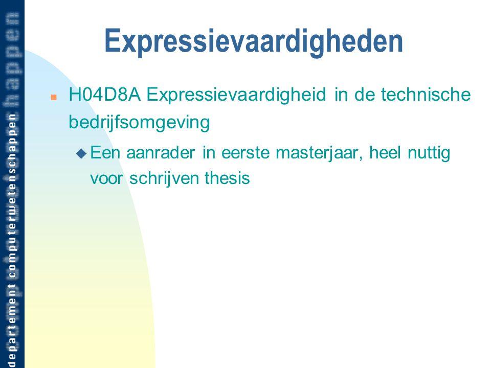 Expressievaardigheden n H04D8A Expressievaardigheid in de technische bedrijfsomgeving u Een aanrader in eerste masterjaar, heel nuttig voor schrijven thesis