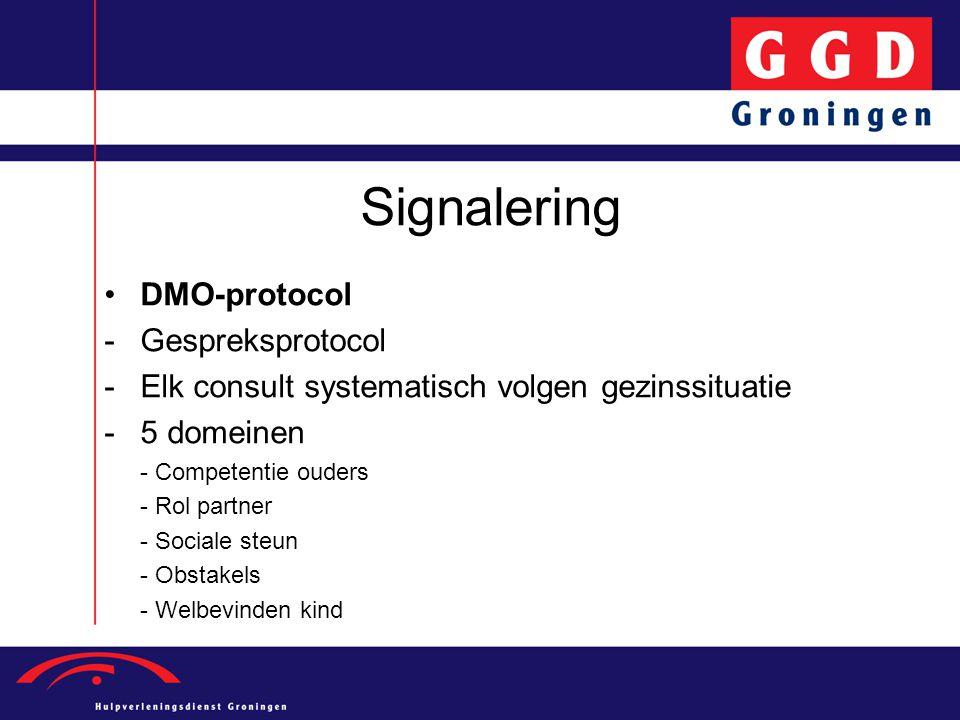 Signalering DMO-protocol -Gespreksprotocol -Elk consult systematisch volgen gezinssituatie -5 domeinen - Competentie ouders - Rol partner - Sociale st