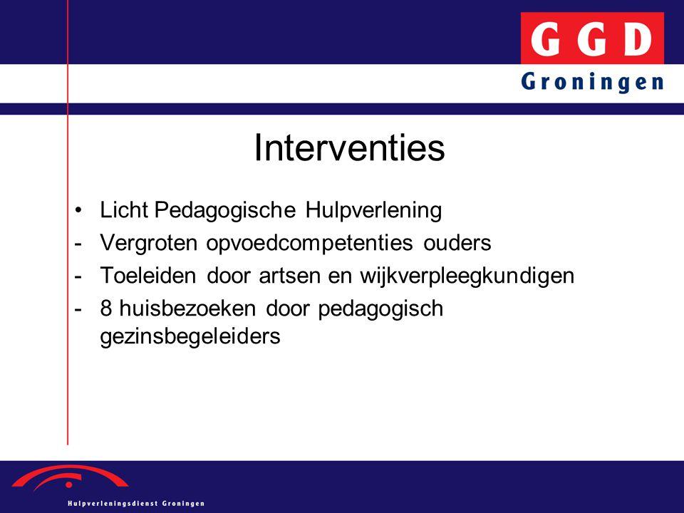 Interventies Licht Pedagogische Hulpverlening -Vergroten opvoedcompetenties ouders -Toeleiden door artsen en wijkverpleegkundigen -8 huisbezoeken door