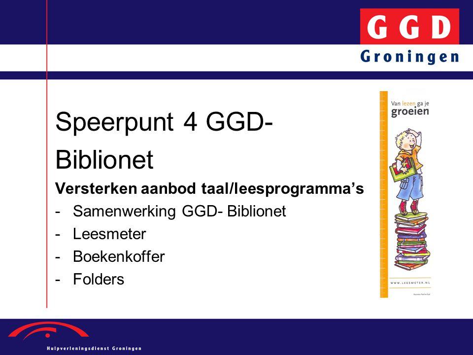 Speerpunt 4 GGD- Biblionet Versterken aanbod taal/leesprogramma's -Samenwerking GGD- Biblionet -Leesmeter -Boekenkoffer -Folders