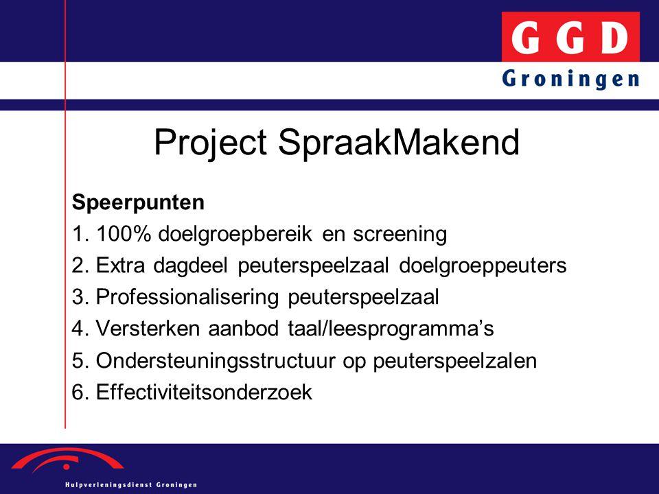Project SpraakMakend Speerpunten 1. 100% doelgroepbereik en screening 2. Extra dagdeel peuterspeelzaal doelgroeppeuters 3. Professionalisering peuters