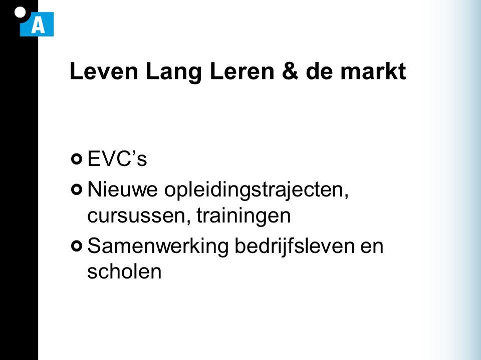 Leven Lang Leren & de markt EVC's Nieuwe opleidingstrajecten, cursussen, trainingen Samenwerking bedrijfsleven en scholen