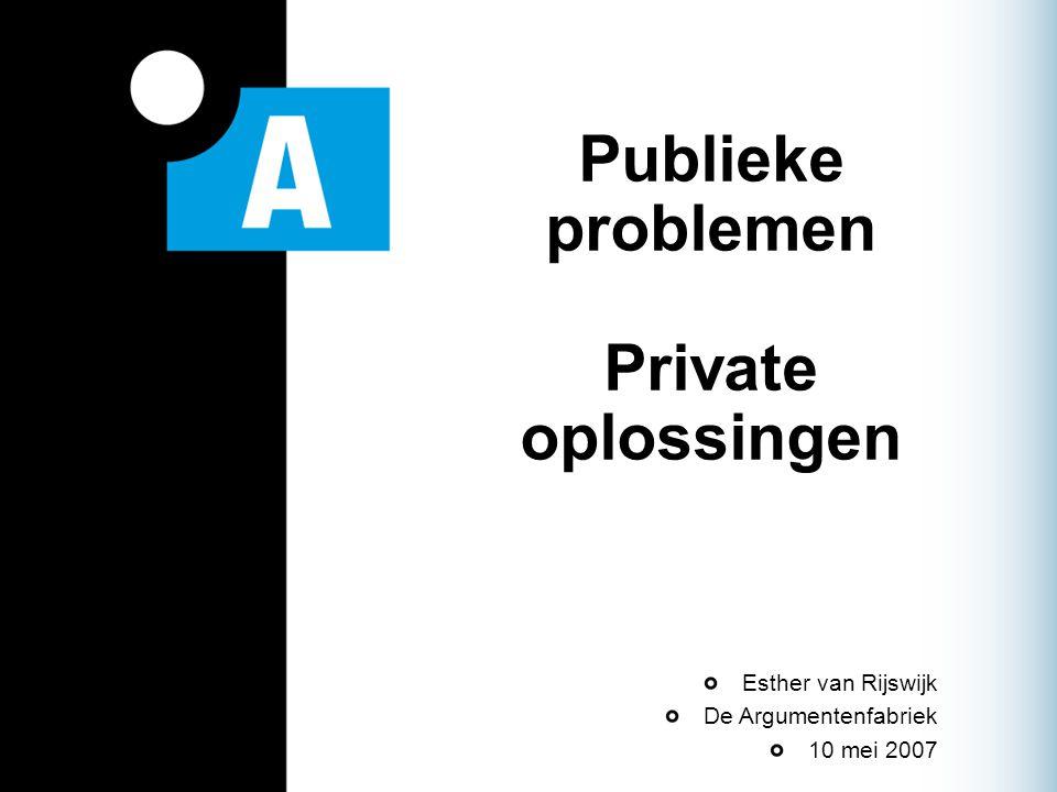 Publieke problemen Private oplossingen Esther van Rijswijk De Argumentenfabriek 10 mei 2007