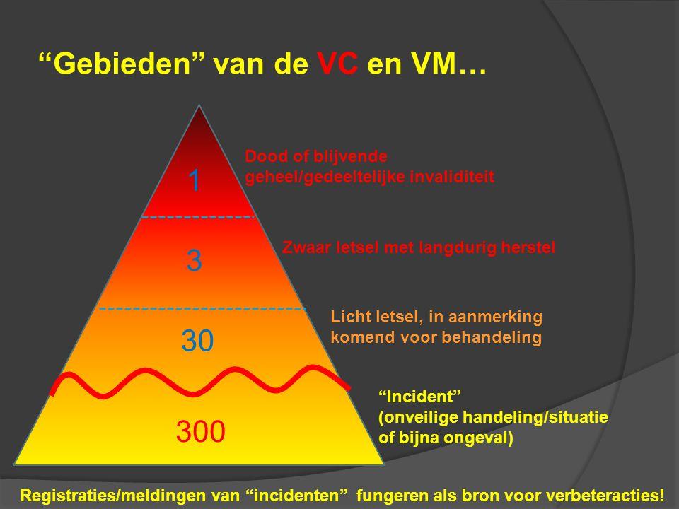 """""""Gebieden"""" van de VC en VM… 300 30 3 1 Dood of blijvende geheel/gedeeltelijke invaliditeit Zwaar letsel met langdurig herstel Licht letsel, in aanmerk"""