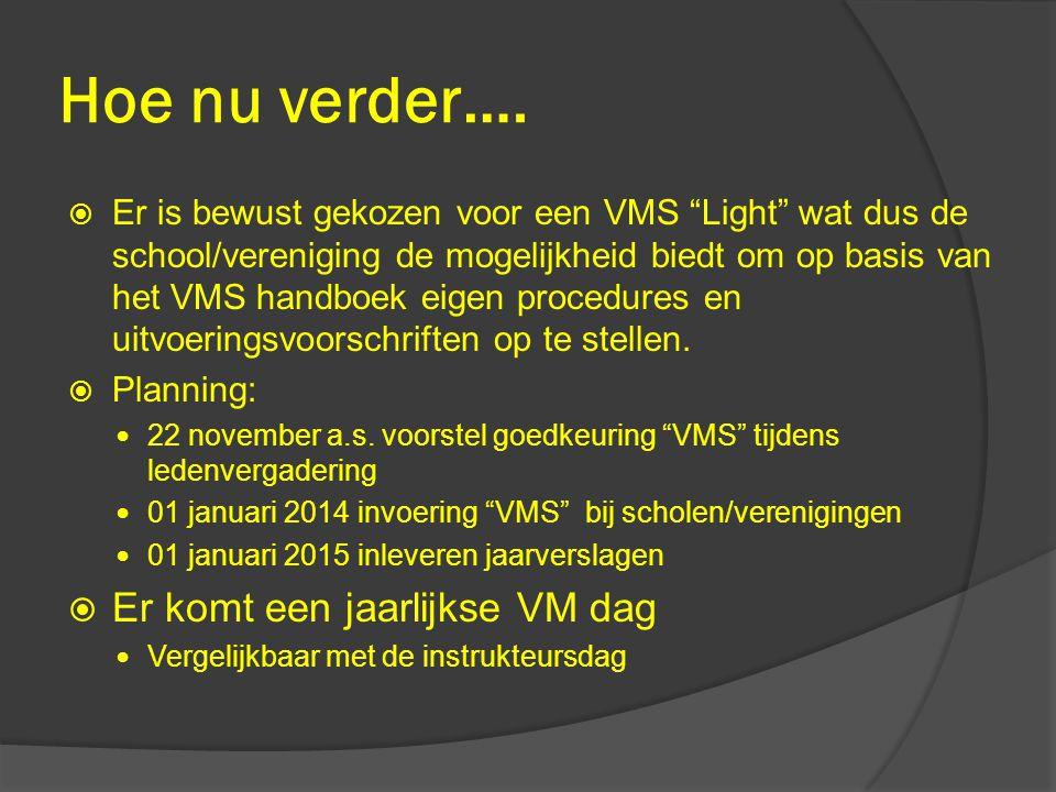 """Hoe nu verder….  Er is bewust gekozen voor een VMS """"Light"""" wat dus de school/vereniging de mogelijkheid biedt om op basis van het VMS handboek eigen"""