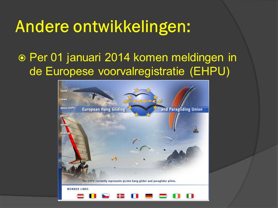Andere ontwikkelingen:  Per 01 januari 2014 komen meldingen in de Europese voorvalregistratie (EHPU)
