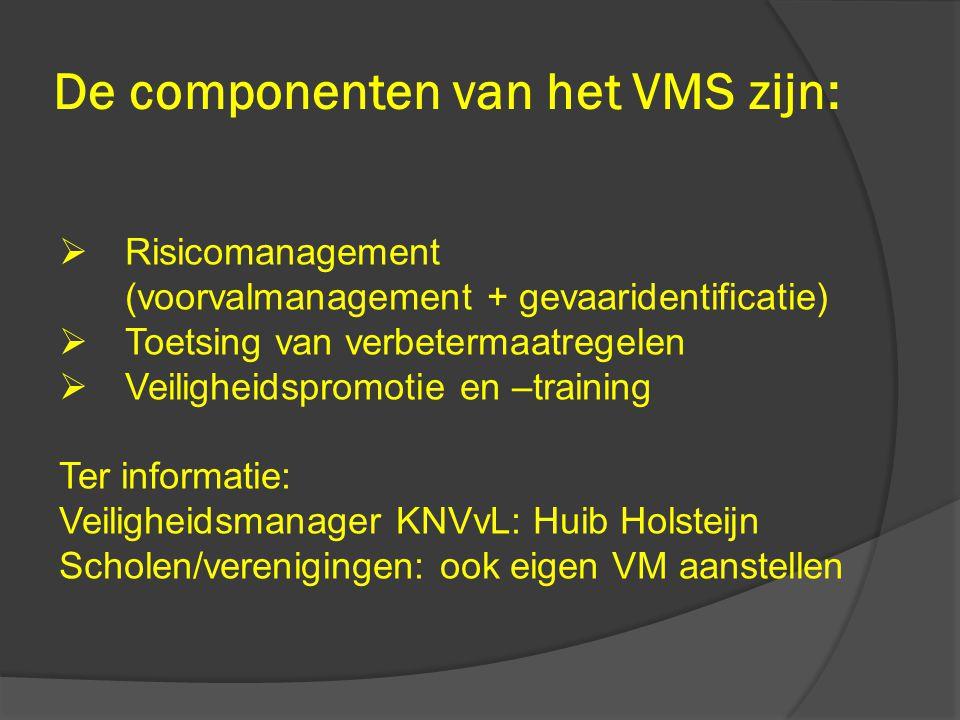 De componenten van het VMS zijn:  Risicomanagement (voorvalmanagement + gevaaridentificatie)  Toetsing van verbetermaatregelen  Veiligheidspromotie
