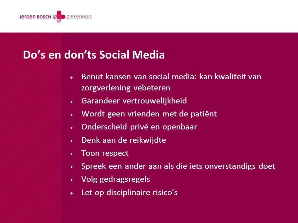 + Benut kansen van social media: kan kwaliteit van zorgverlening vebeteren + Garandeer vertrouwelijkheid + Wordt geen vrienden met de patiënt + Onderscheid privé en openbaar + Denk aan de reikwijdte + Toon respect + Spreek een ander aan als die iets onverstandigs doet + Volg gedragsregels + Let op disciplinaire risico's Do's en don'ts Social Media