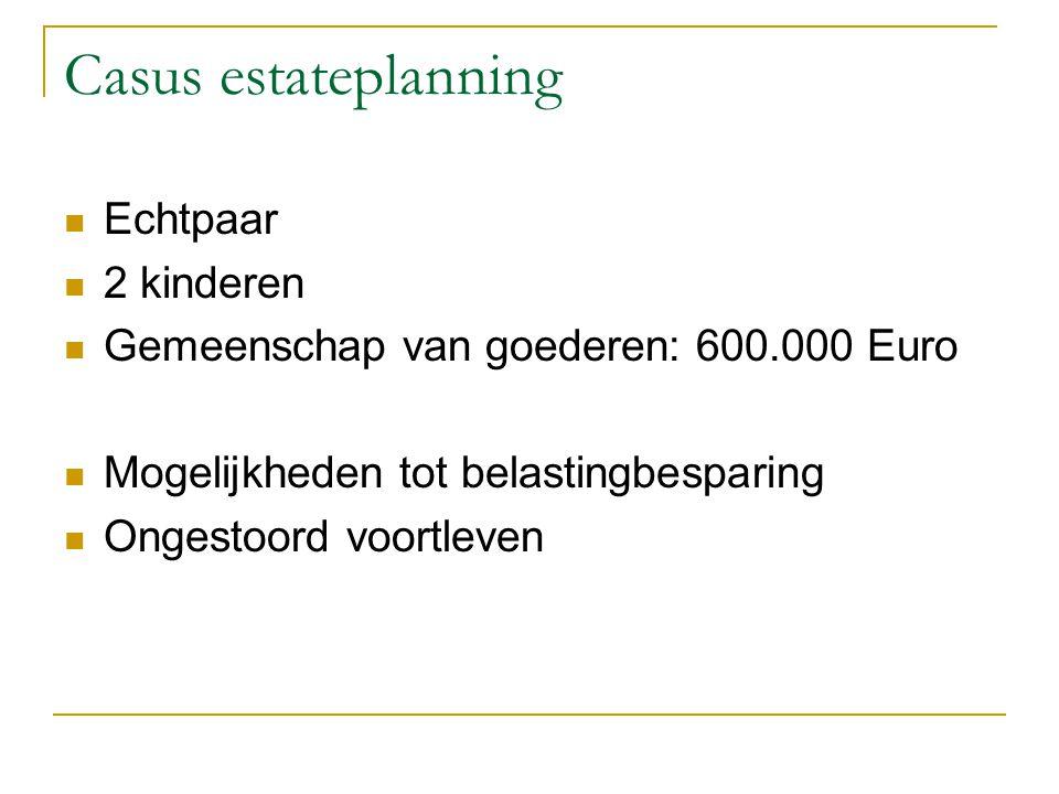 Casus estateplanning Echtpaar 2 kinderen Gemeenschap van goederen: 600.000 Euro Mogelijkheden tot belastingbesparing Ongestoord voortleven
