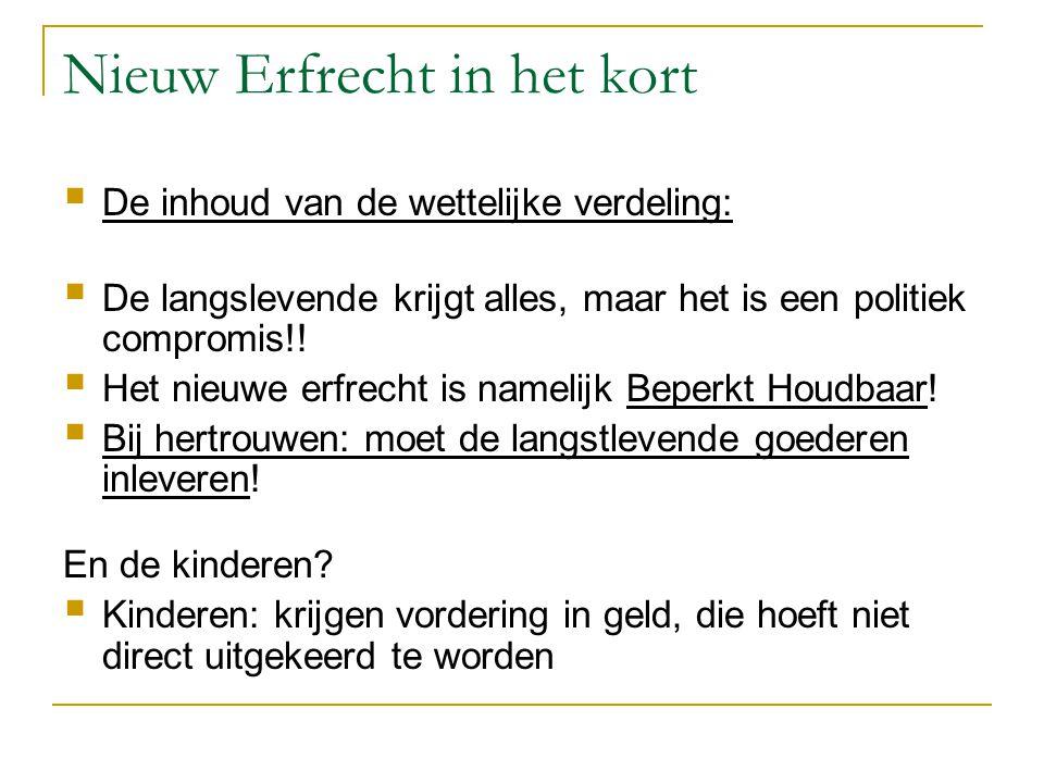 Nieuw Erfrecht in het kort  De inhoud van de wettelijke verdeling:  De langslevende krijgt alles, maar het is een politiek compromis!!  Het nieuwe