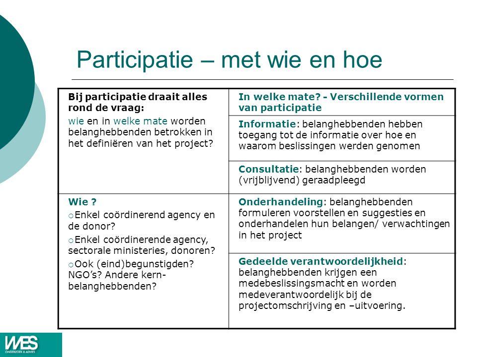 Participatie – met wie en hoe Bij participatie draait alles rond de vraag: wie en in welke mate worden belanghebbenden betrokken in het definiëren van