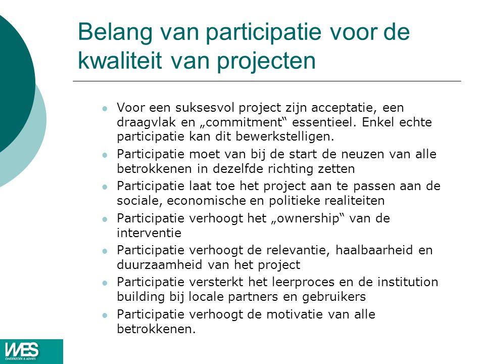 """Belang van participatie voor de kwaliteit van projecten Voor een suksesvol project zijn acceptatie, een draagvlak en """"commitment"""" essentieel. Enkel ec"""