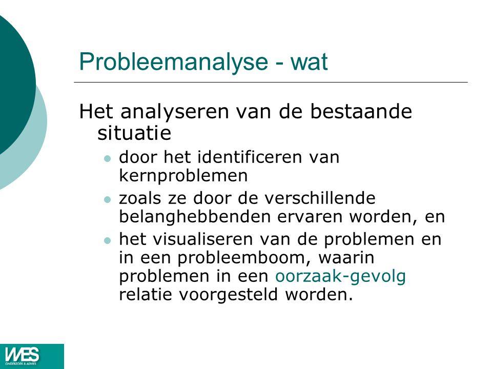 Probleemanalyse - wat Het analyseren van de bestaande situatie door het identificeren van kernproblemen zoals ze door de verschillende belanghebbenden ervaren worden, en het visualiseren van de problemen en in een probleemboom, waarin problemen in een oorzaak-gevolg relatie voorgesteld worden.