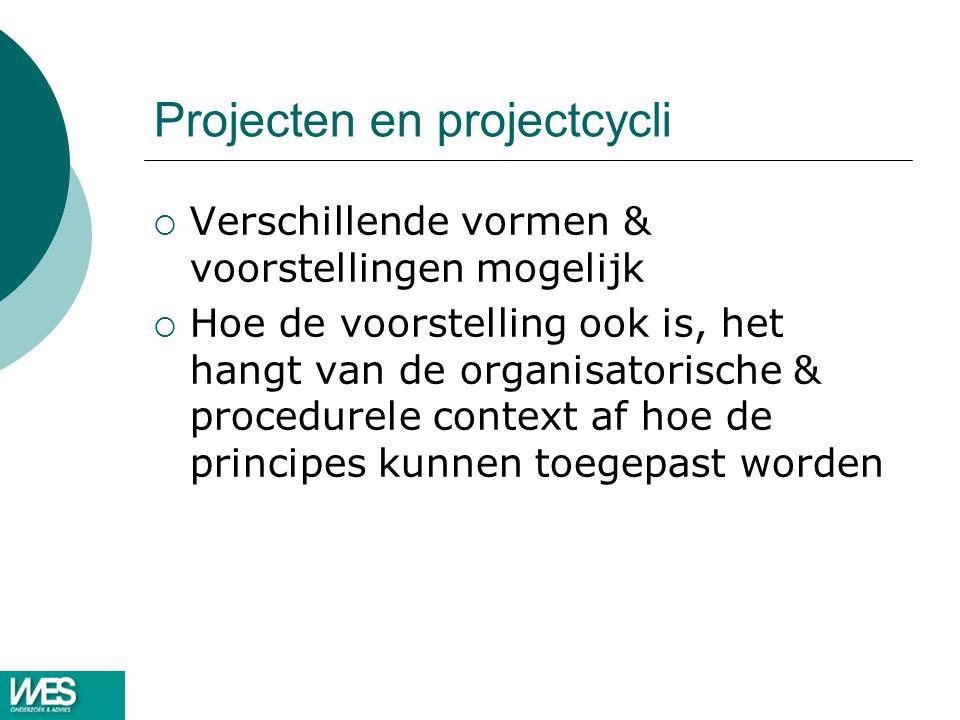 Projecten en projectcycli  Verschillende vormen & voorstellingen mogelijk  Hoe de voorstelling ook is, het hangt van de organisatorische & procedurele context af hoe de principes kunnen toegepast worden