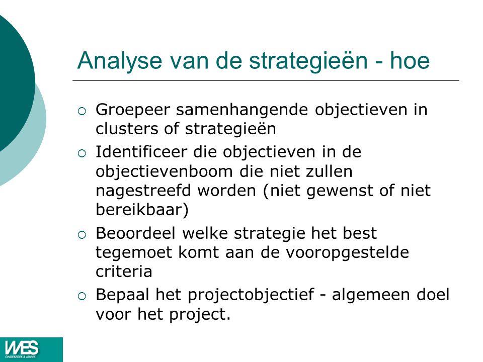Analyse van de strategieën - hoe  Groepeer samenhangende objectieven in clusters of strategieën  Identificeer die objectieven in de objectievenboom die niet zullen nagestreefd worden (niet gewenst of niet bereikbaar)  Beoordeel welke strategie het best tegemoet komt aan de vooropgestelde criteria  Bepaal het projectobjectief - algemeen doel voor het project.
