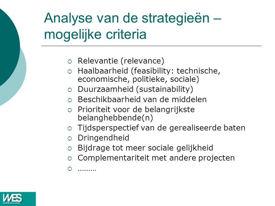 Analyse van de strategieën – mogelijke criteria  Relevantie (relevance)  Haalbaarheid (feasibility: technische, economische, politieke, sociale)  D