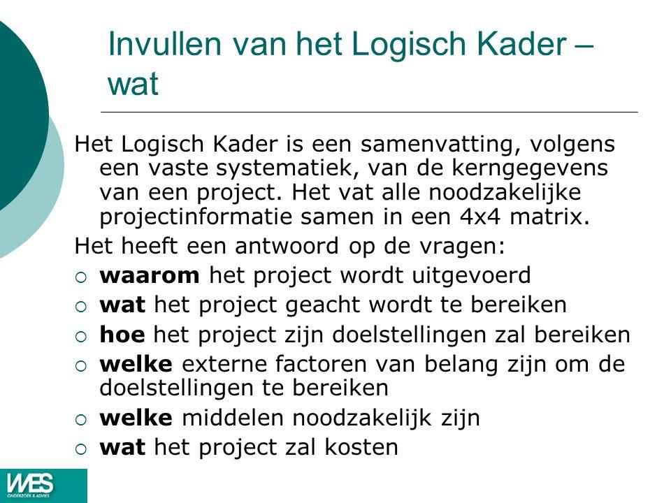 Invullen van het Logisch Kader – wat Het Logisch Kader is een samenvatting, volgens een vaste systematiek, van de kerngegevens van een project. Het va