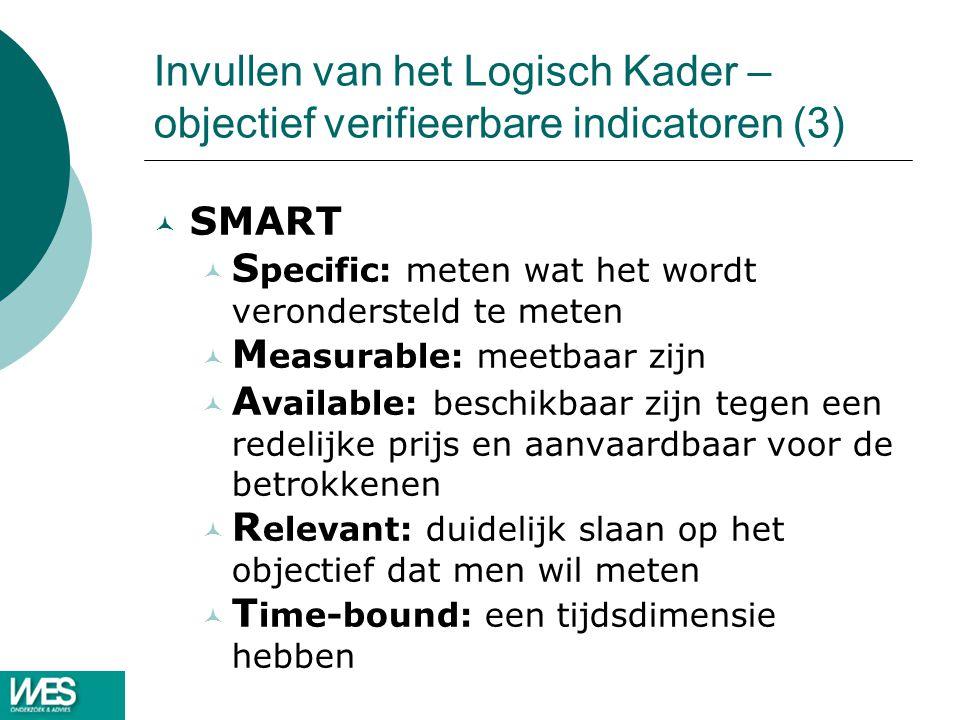 Invullen van het Logisch Kader – objectief verifieerbare indicatoren (3) © SMART © S pecific: meten wat het wordt verondersteld te meten © M easurable