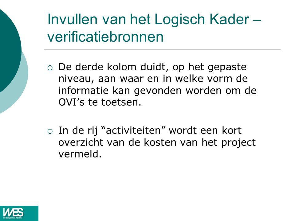 Invullen van het Logisch Kader – verificatiebronnen  De derde kolom duidt, op het gepaste niveau, aan waar en in welke vorm de informatie kan gevonden worden om de OVI's te toetsen.