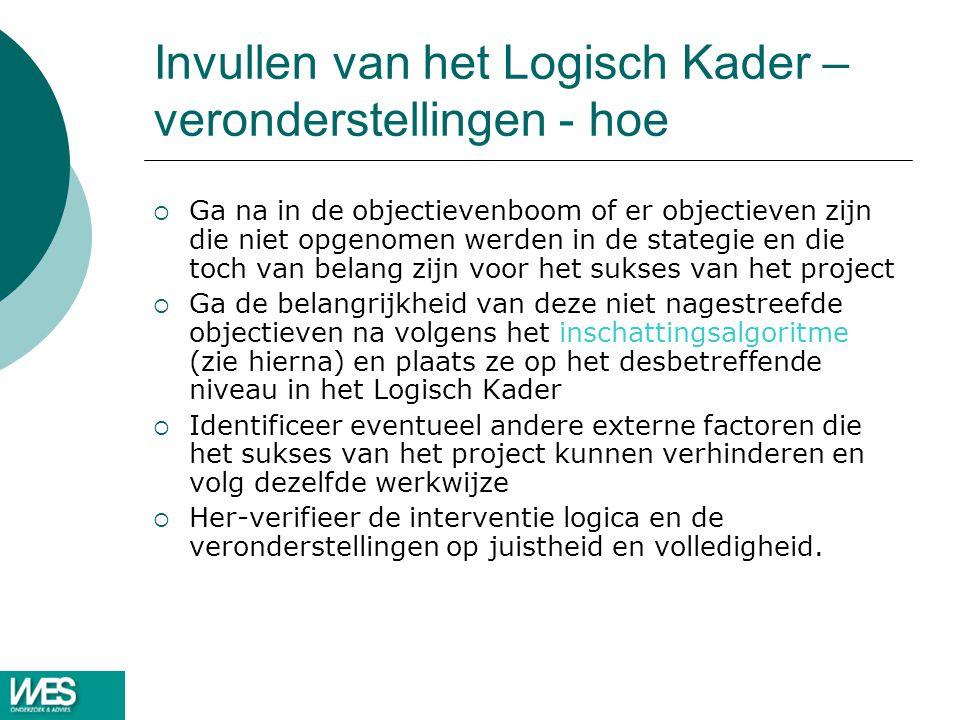 Invullen van het Logisch Kader – veronderstellingen - hoe  Ga na in de objectievenboom of er objectieven zijn die niet opgenomen werden in de stategi