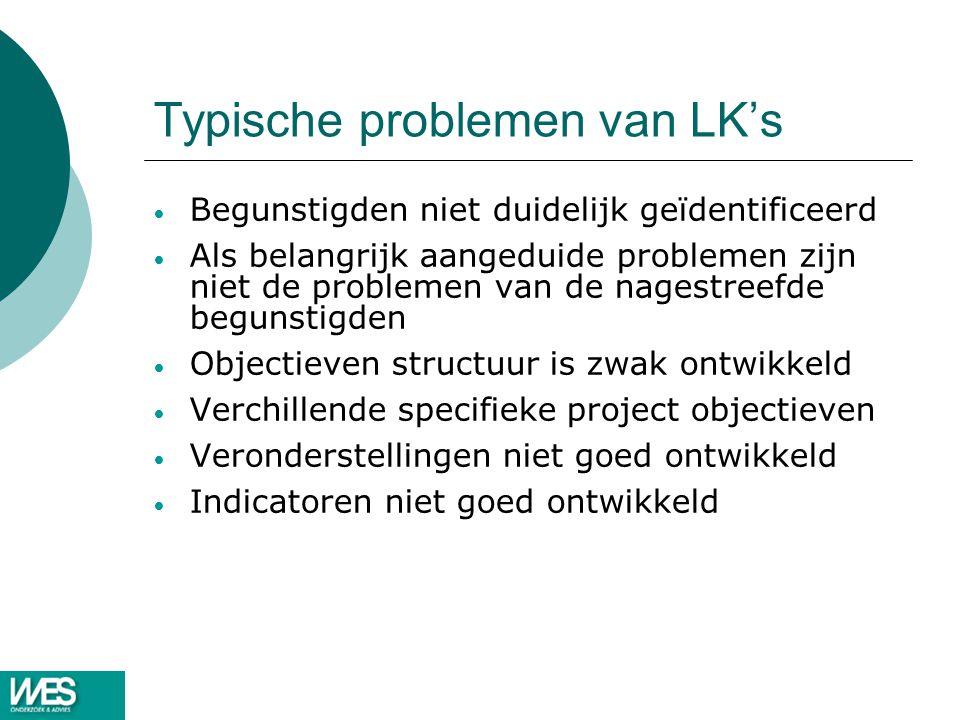 Typische problemen van LK's Begunstigden niet duidelijk geïdentificeerd Als belangrijk aangeduide problemen zijn niet de problemen van de nagestreefde begunstigden Objectieven structuur is zwak ontwikkeld Verchillende specifieke project objectieven Veronderstellingen niet goed ontwikkeld Indicatoren niet goed ontwikkeld