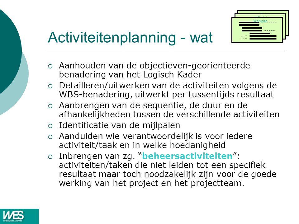 Activiteitenplanning - wat  Aanhouden van de objectieven-georienteerde benadering van het Logisch Kader  Detailleren/uitwerken van de activiteiten volgens de WBS-benadering, uitwerkt per tussentijds resultaat  Aanbrengen van de sequentie, de duur en de afhankelijkheden tussen de verschillende activiteiten  Identificatie van de mijlpalen  Aanduiden wie verantwoordelijk is voor iedere activiteit/taak en in welke hoedanigheid  Inbrengen van zg.