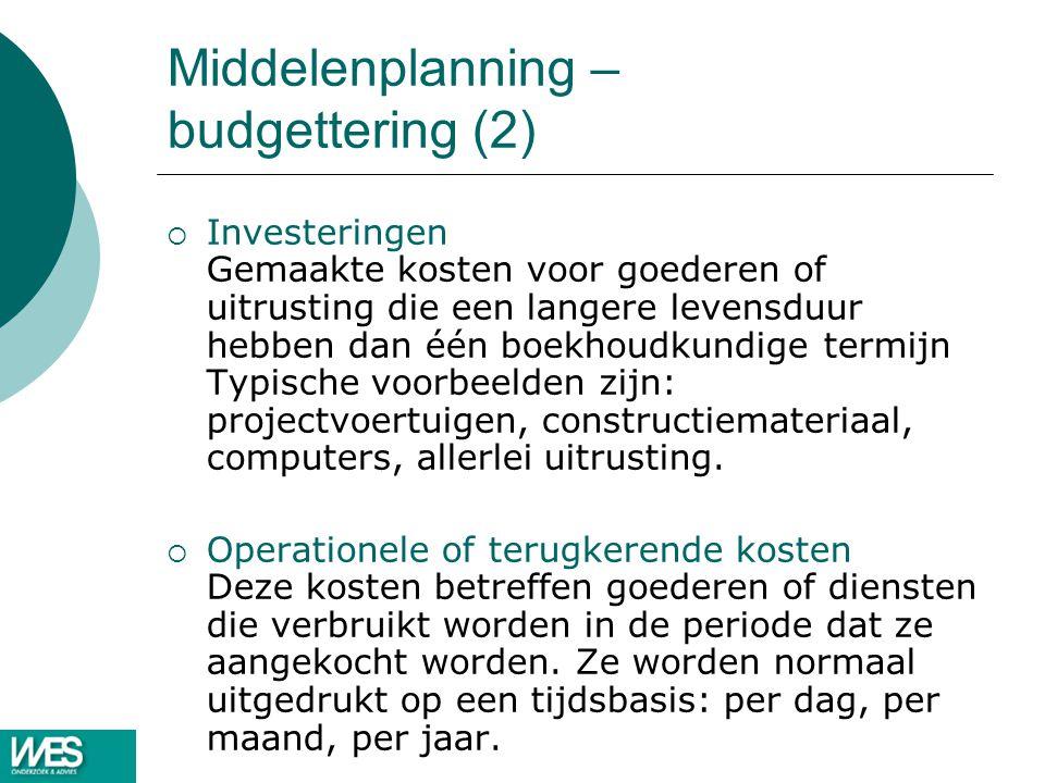 Middelenplanning – budgettering (2)  Investeringen Gemaakte kosten voor goederen of uitrusting die een langere levensduur hebben dan één boekhoudkund