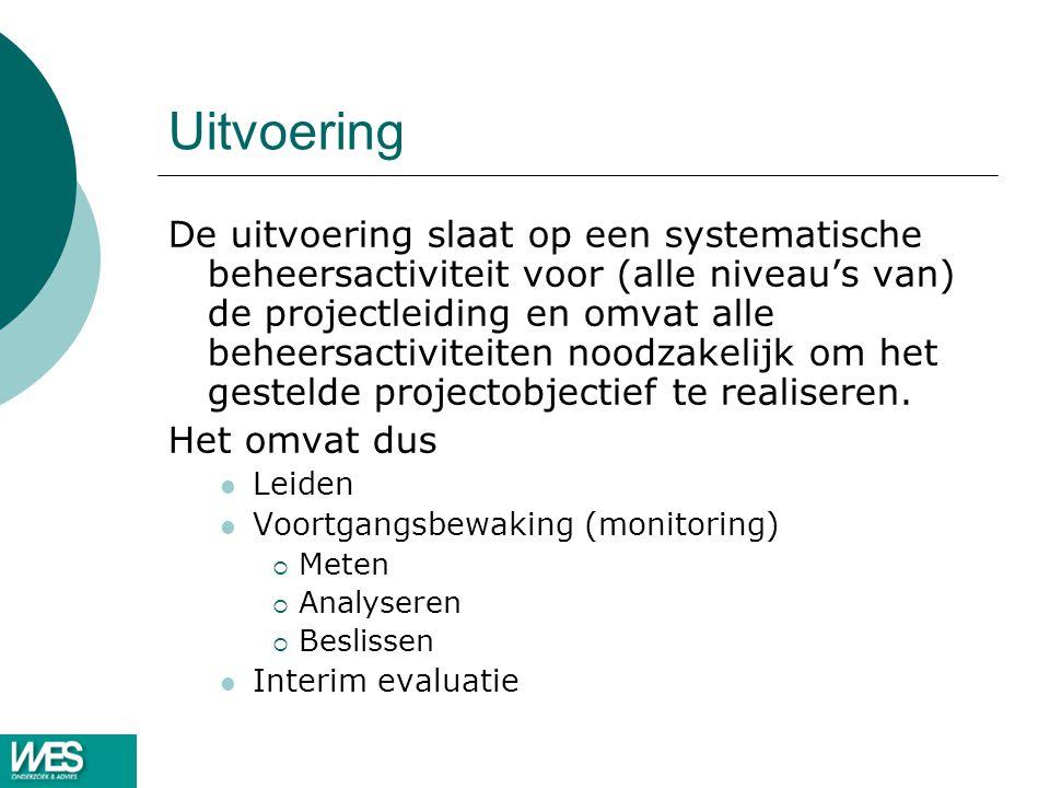 Uitvoering De uitvoering slaat op een systematische beheersactiviteit voor (alle niveau's van) de projectleiding en omvat alle beheersactiviteiten noo