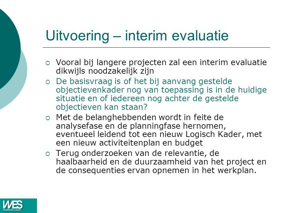 Uitvoering – interim evaluatie  Vooral bij langere projecten zal een interim evaluatie dikwijls noodzakelijk zijn  De basisvraag is of het bij aanva