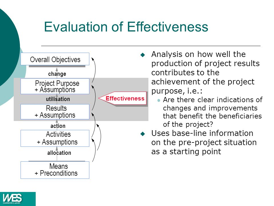 Evaluation of Effectiveness u Analysis on how well the production of project results contributes to the achievement of the project purpose, i.e.: Are