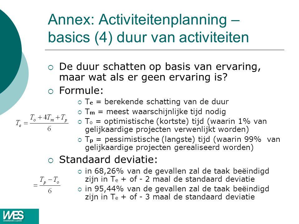Annex: Activiteitenplanning – basics (4) duur van activiteiten  De duur schatten op basis van ervaring, maar wat als er geen ervaring is?  Formule: