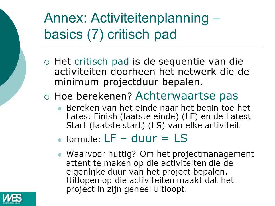 Annex: Activiteitenplanning – basics (7) critisch pad  Het critisch pad is de sequentie van die activiteiten doorheen het netwerk die de minimum proj