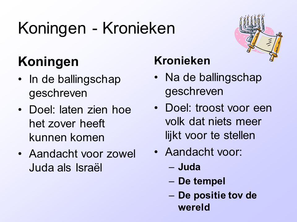 Koningen - Kronieken Koningen In de ballingschap geschreven Doel: laten zien hoe het zover heeft kunnen komen Aandacht voor zowel Juda als Israël Kron