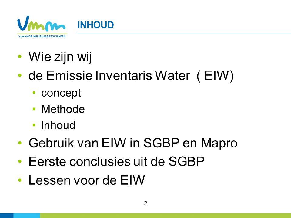 2 INHOUD Wie zijn wij de Emissie Inventaris Water ( EIW) concept Methode Inhoud Gebruik van EIW in SGBP en Mapro Eerste conclusies uit de SGBP Lessen