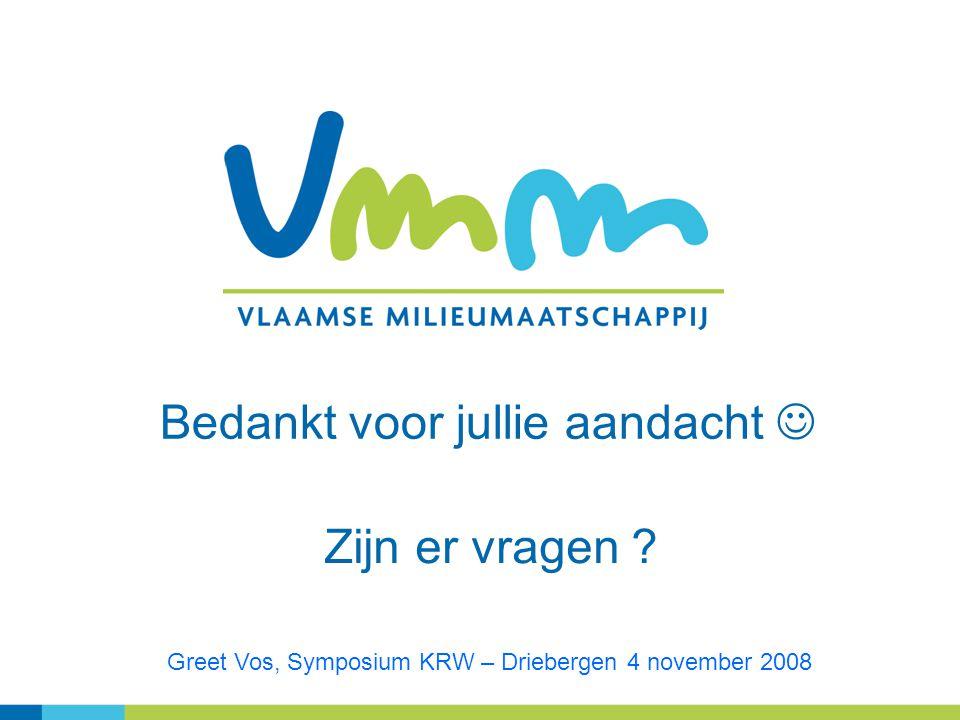 Bedankt voor jullie aandacht Zijn er vragen ? Greet Vos, Symposium KRW – Driebergen 4 november 2008