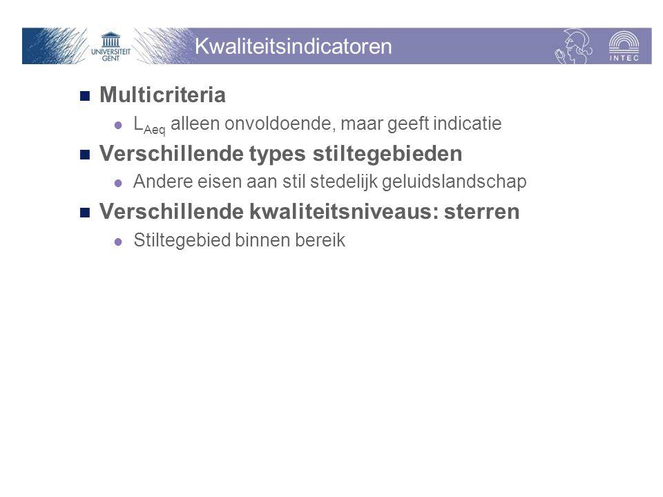 Kwaliteitsindicatoren Multicriteria L Aeq alleen onvoldoende, maar geeft indicatie Verschillende types stiltegebieden Andere eisen aan stil stedelijk geluidslandschap Verschillende kwaliteitsniveaus: sterren Stiltegebied binnen bereik