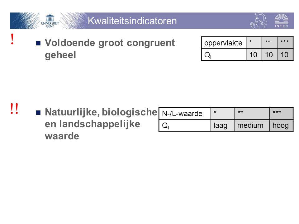 Kwaliteitsindicatoren Voldoende groot congruent geheel Natuurlijke, biologische en landschappelijke waarde oppervlakte* ** *** QlQl 10 N-/L-waarde****** QlQl laagmediumhoog .