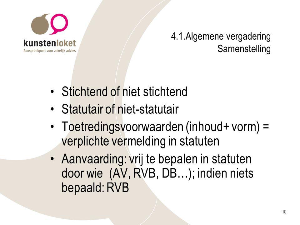 10 4.1.Algemene vergadering Samenstelling Stichtend of niet stichtend Statutair of niet-statutair Toetredingsvoorwaarden (inhoud+ vorm) = verplichte v