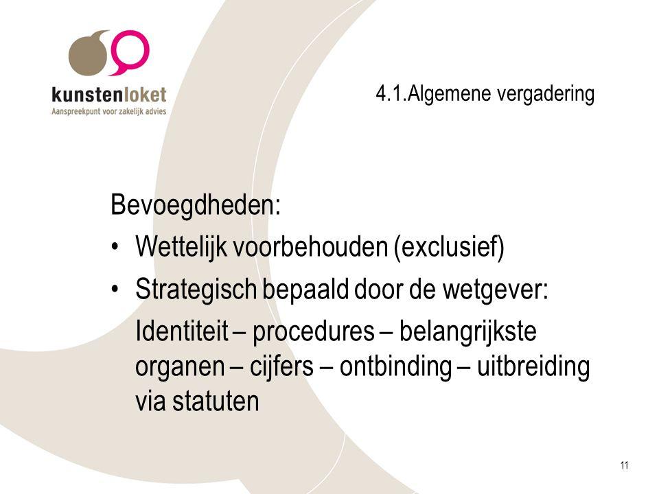 11 4.1.Algemene vergadering Bevoegdheden: Wettelijk voorbehouden (exclusief) Strategisch bepaald door de wetgever: Identiteit – procedures – belangrij