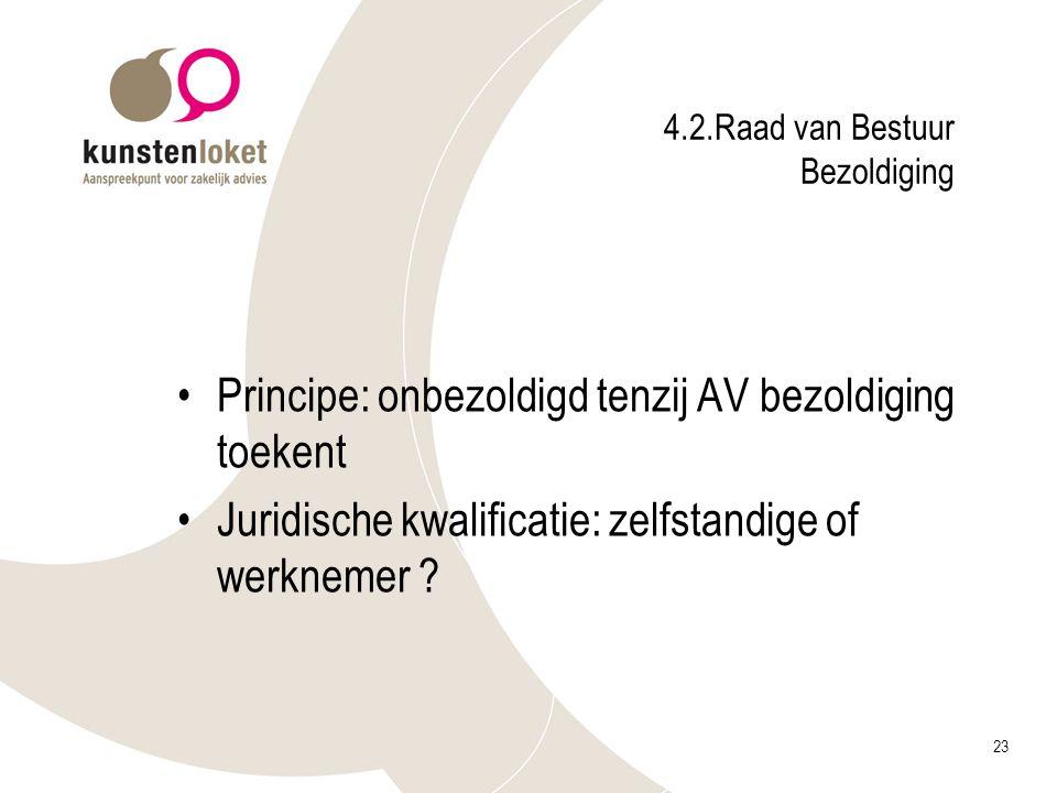 23 4.2.Raad van Bestuur Bezoldiging Principe: onbezoldigd tenzij AV bezoldiging toekent Juridische kwalificatie: zelfstandige of werknemer ?