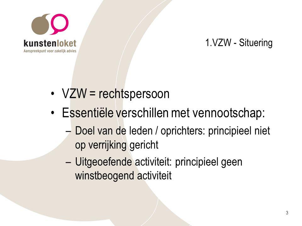 3 1.VZW - Situering VZW = rechtspersoon Essentiële verschillen met vennootschap: –Doel van de leden / oprichters: principieel niet op verrijking geric
