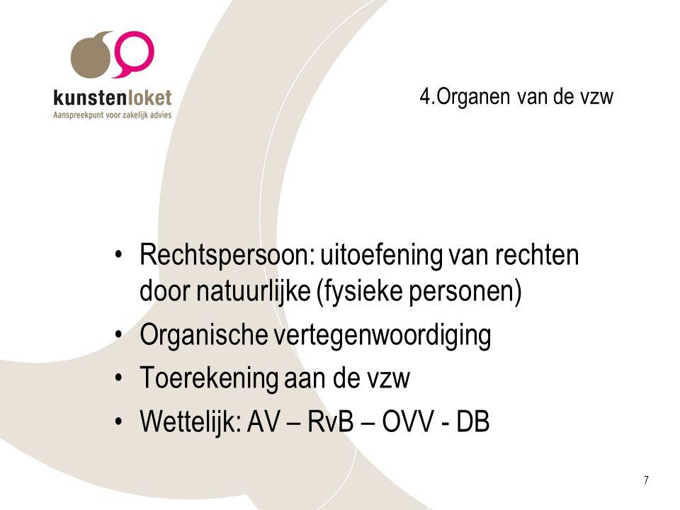 7 4.Organen van de vzw Rechtspersoon: uitoefening van rechten door natuurlijke (fysieke personen) Organische vertegenwoordiging Toerekening aan de vzw